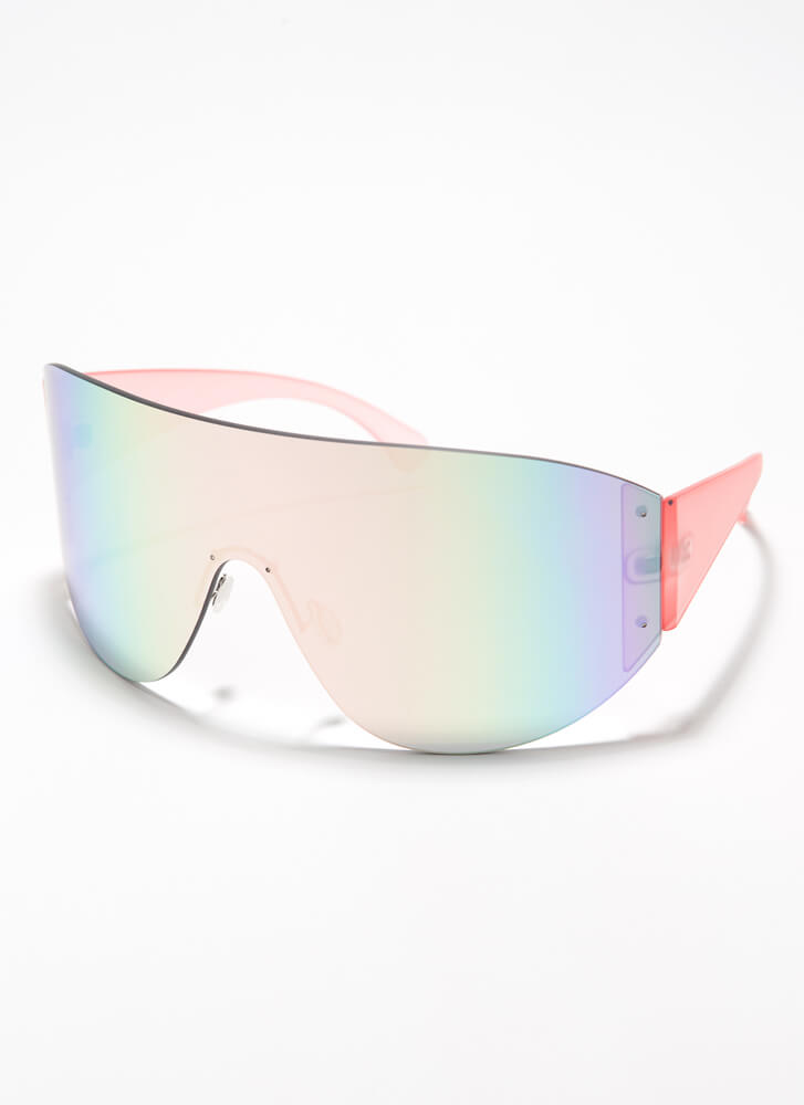 Ombre Vision Oversized Goggle Sunglasses PINK