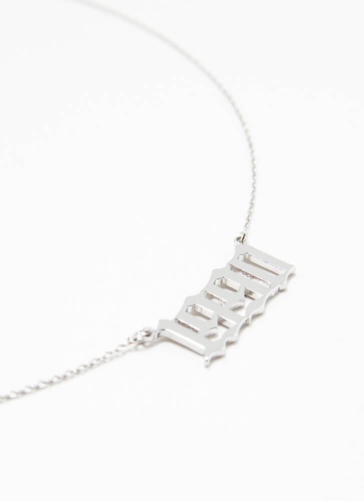 1990 Baby Gold-Dipped Year Necklace SILVER