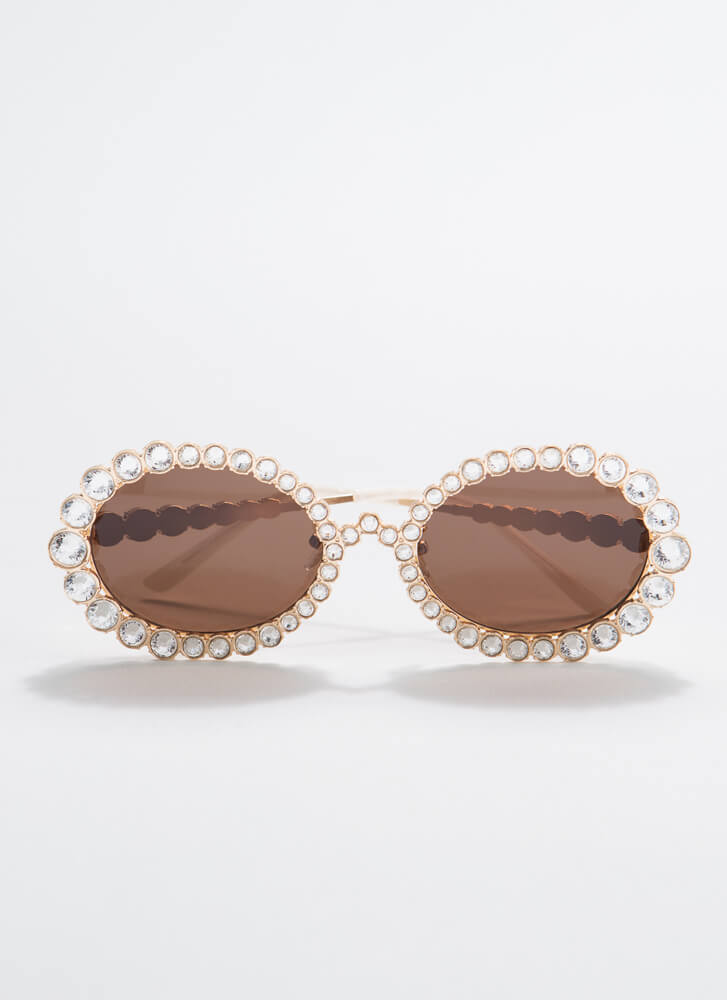 Elton Called Round Jeweled Sunglasses BROWN