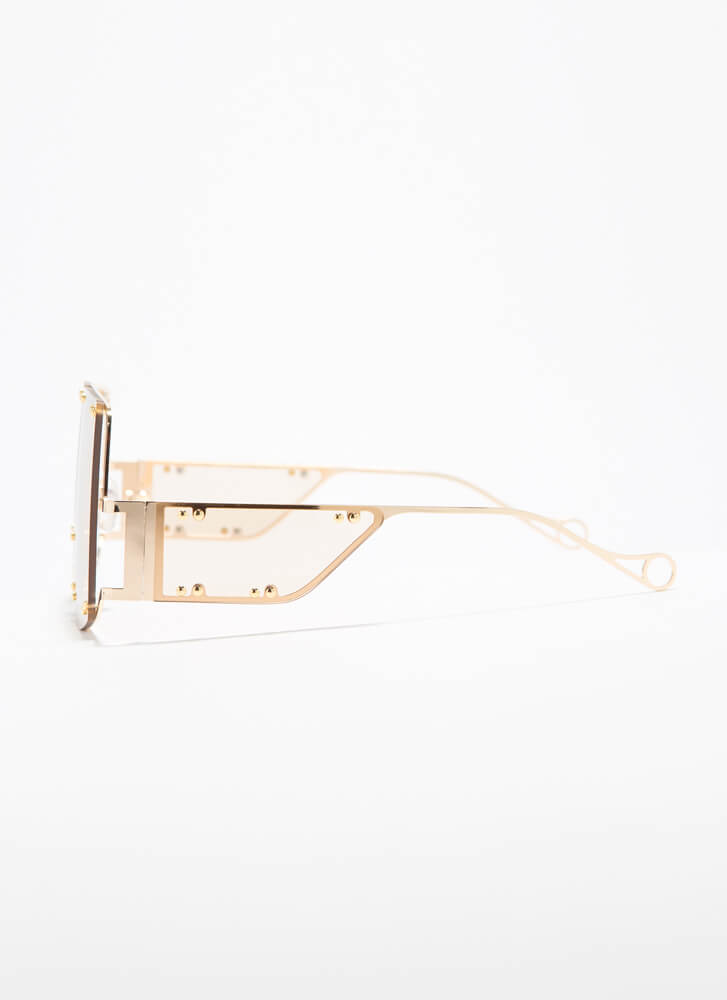Bright Future Studded Cut-Out Sunglasses CLEAR