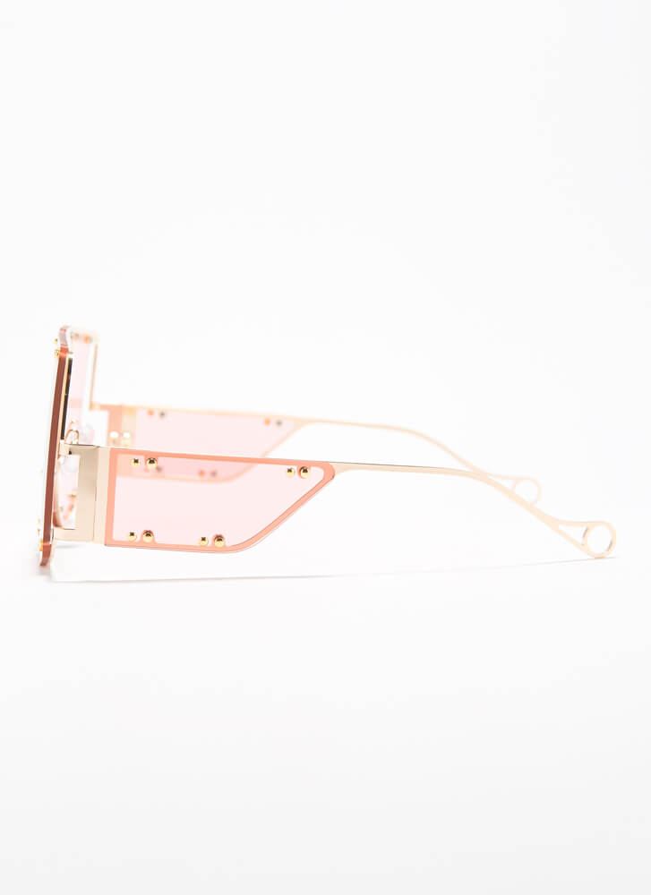 Bright Future Studded Cut-Out Sunglasses PINK