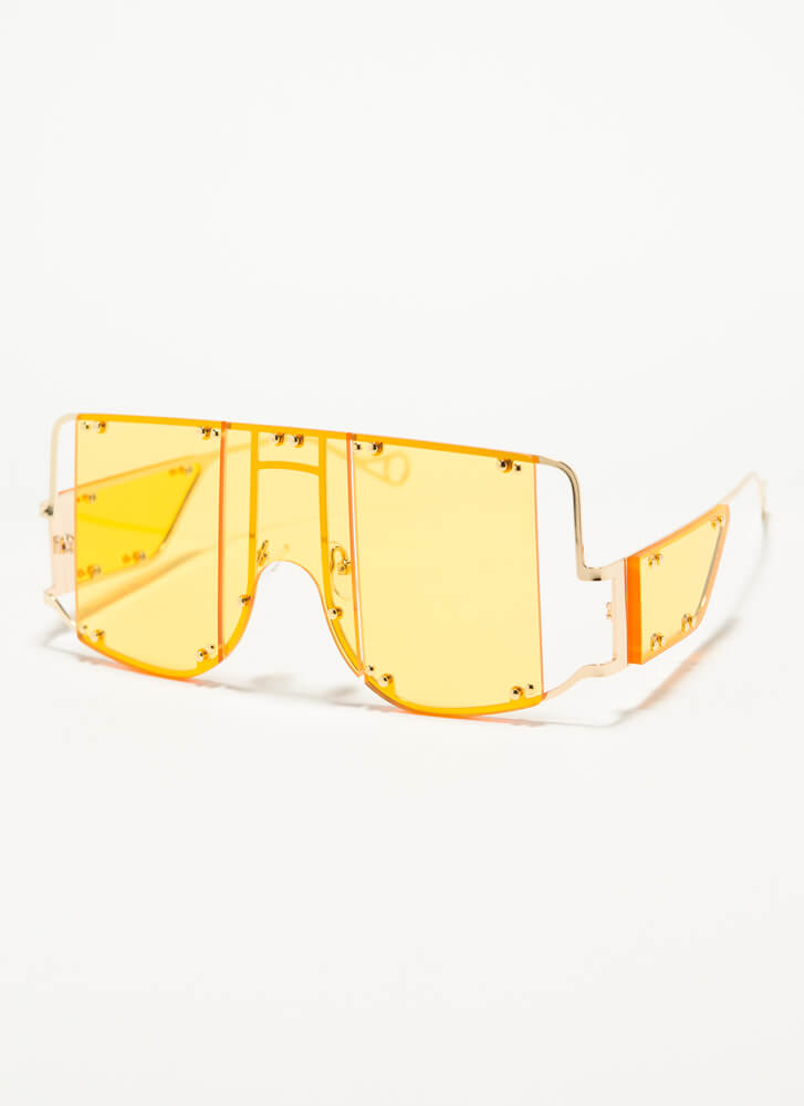 Bright Future Studded Cut-Out Sunglasses YELLOW