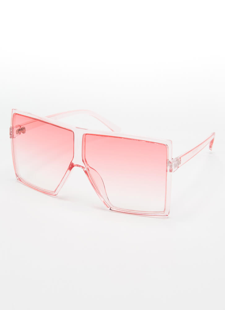 Big Time Clear Oversized Sunglasses PINK