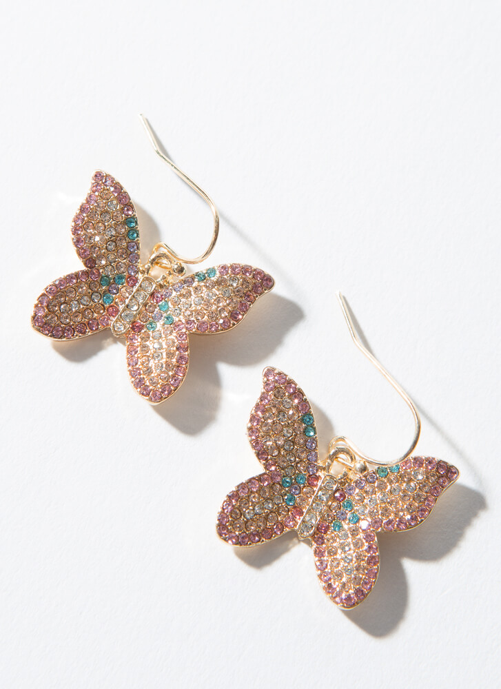 Butterfly Kisses Jeweled Earrings GOLD