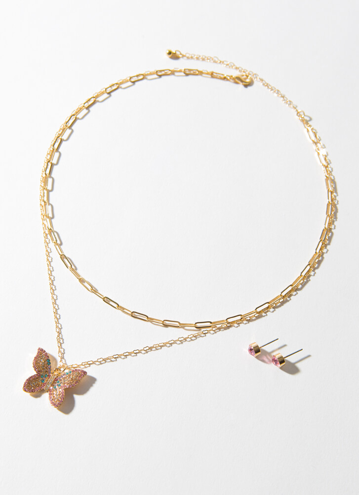 Fly Butterfly Jeweled Charm Necklace Set GOLD