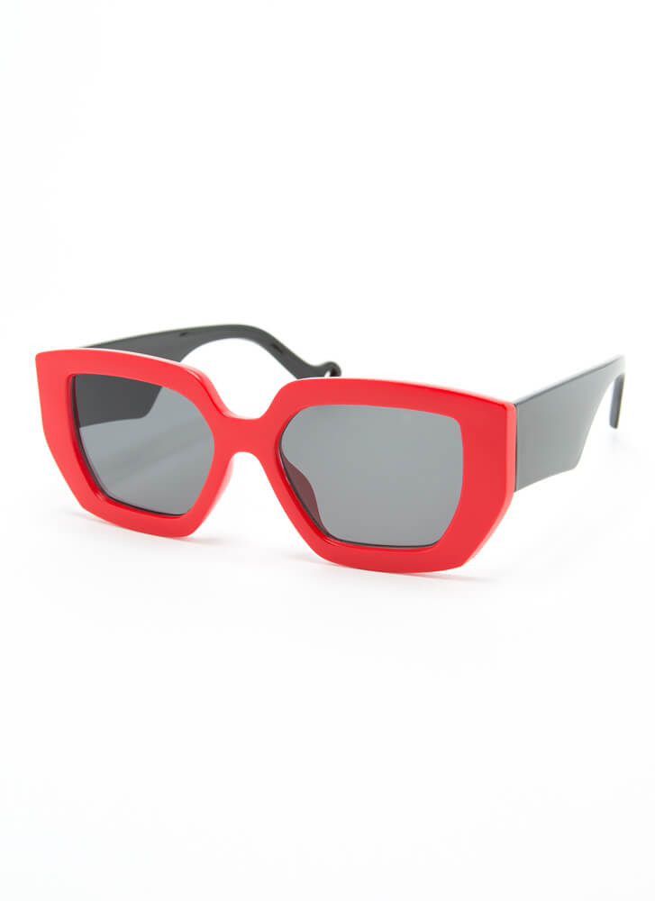 Cool Kids Club Thick-Rimmed Sunglasses RED