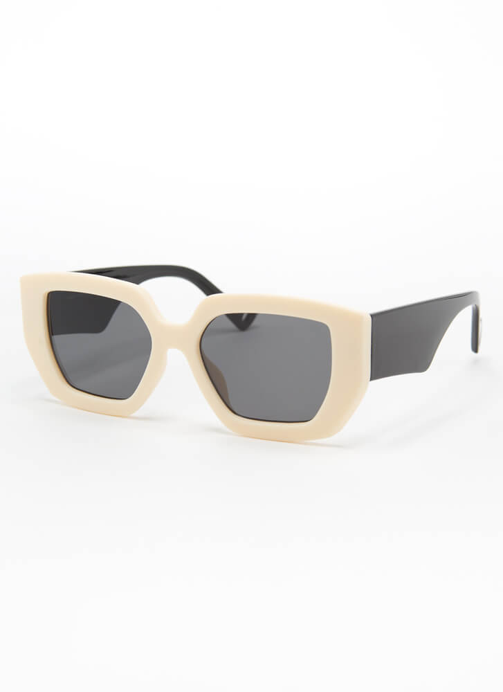 Cool Kids Club Thick-Rimmed Sunglasses WHITE