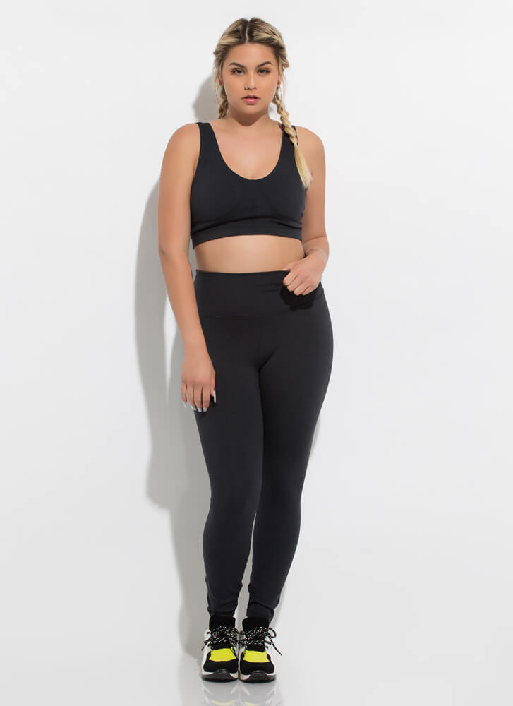 Workout Song Lace-Back Sports Bra Top BLACK
