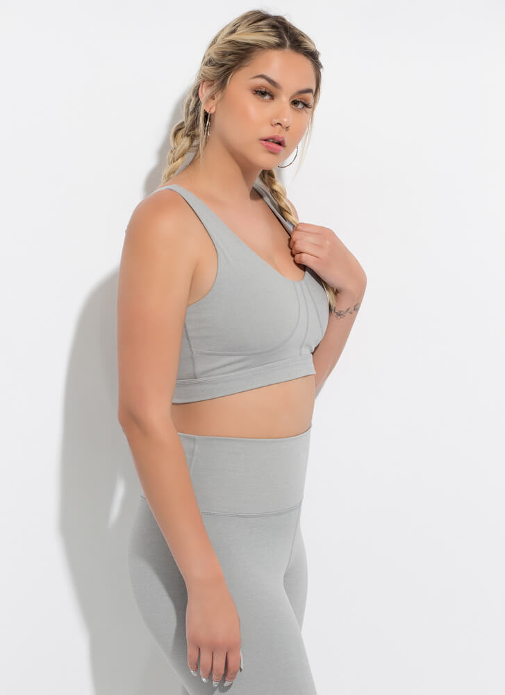 Workout Song Lace-Back Sports Bra Top LTGREY