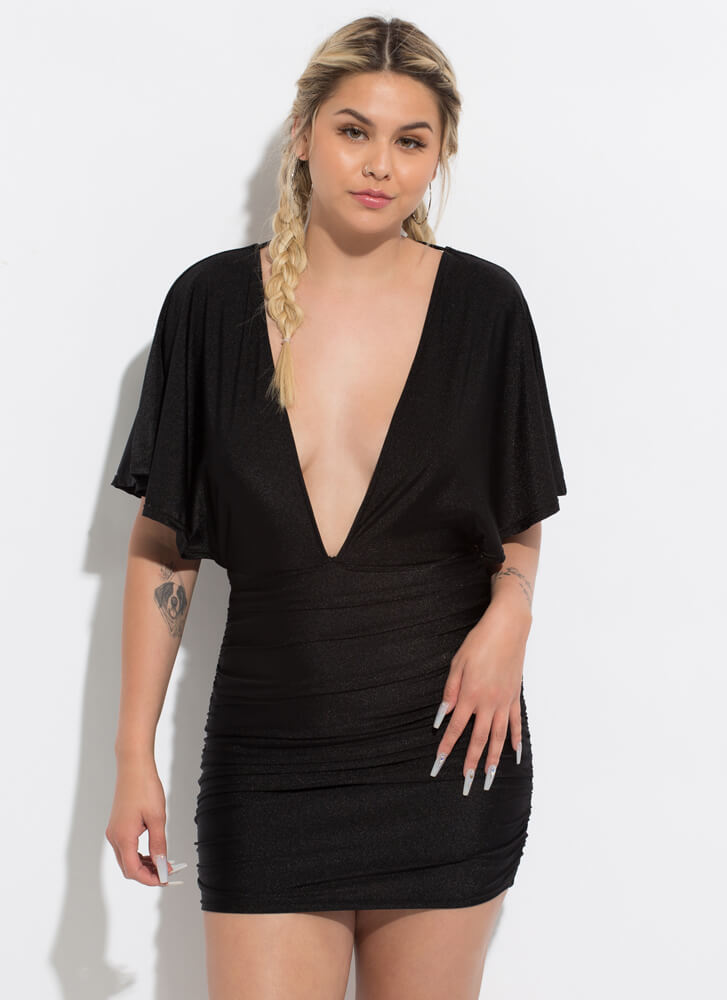 The Plunge Ruched Open-Back Minidress BLACK