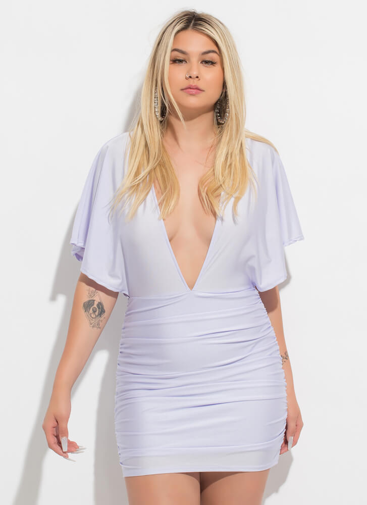 The Plunge Ruched Open-Back Minidress LAVENDER