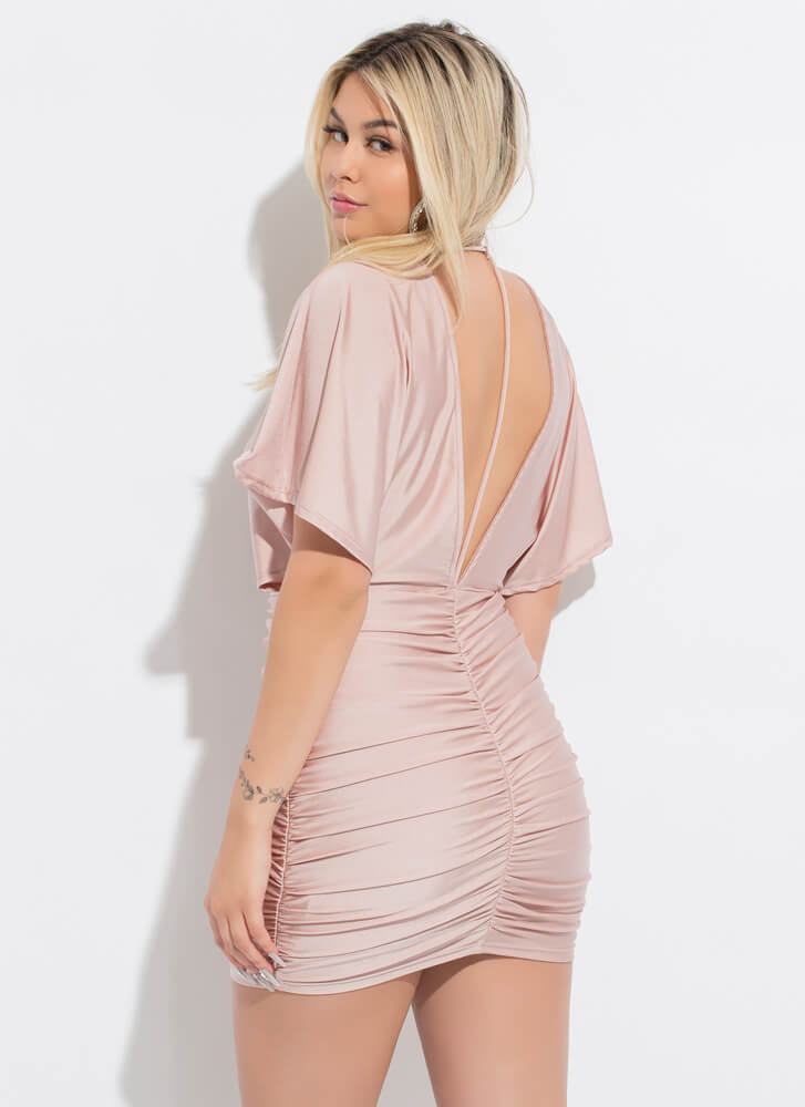 The Plunge Ruched Open-Back Minidress MAUVE