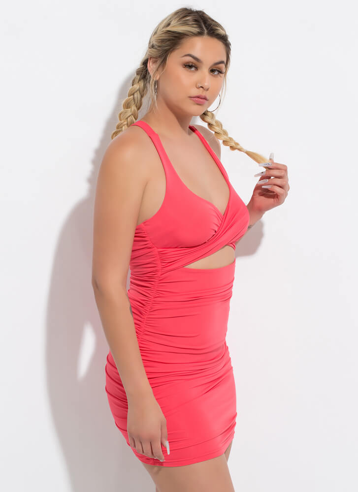 A Shirr Thing Ruched Cut-Out Minidress TOMATO