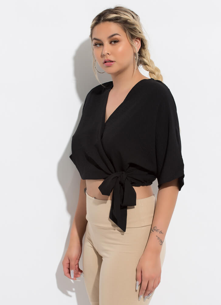 Queen Of Wrap Dolman Cropped Blouse BLACK