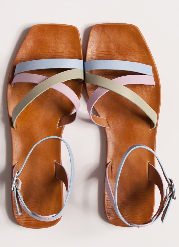 Step Out Strappy Multi-Colored Sandals LTBLUE