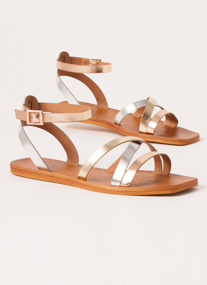 Step Out Strappy Multi-Colored Sandals METALLIC