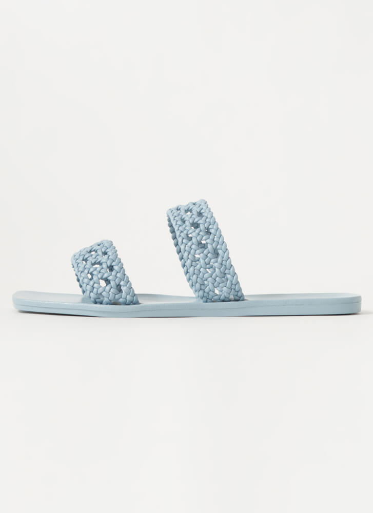 Lacy Sunday Braided Faux Leather Sandals BLUE