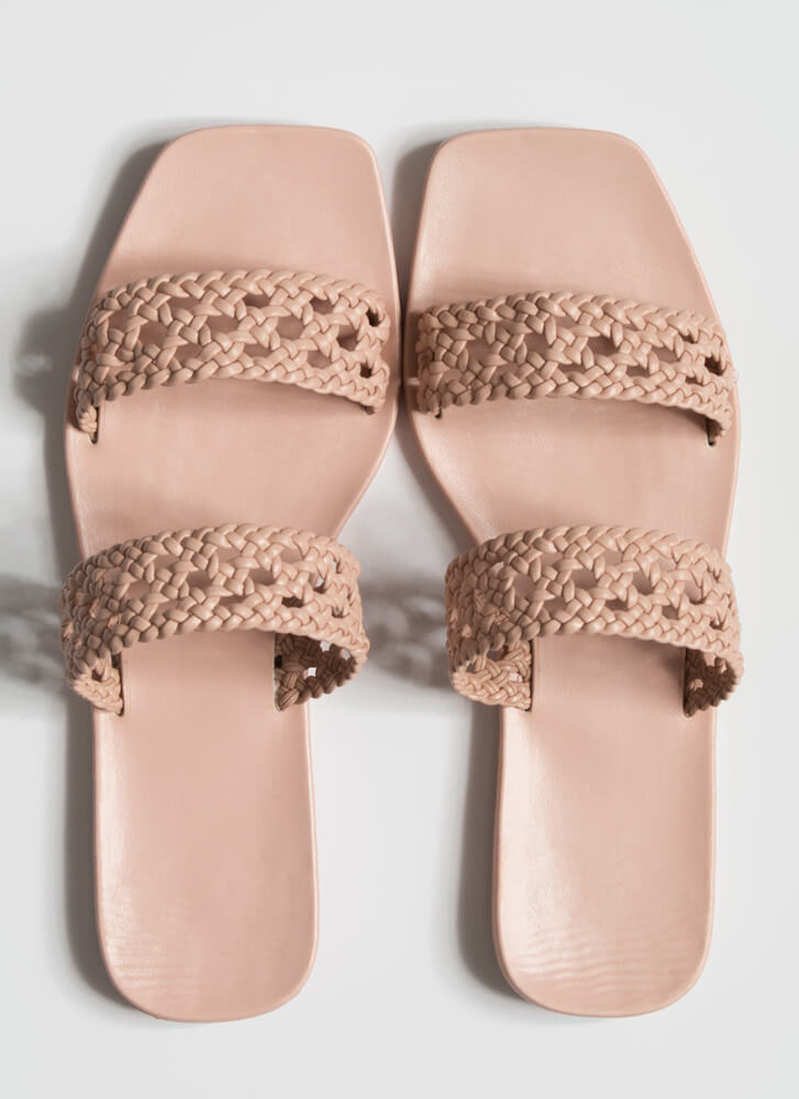 Lacy Sunday Braided Faux Leather Sandals BLUSH
