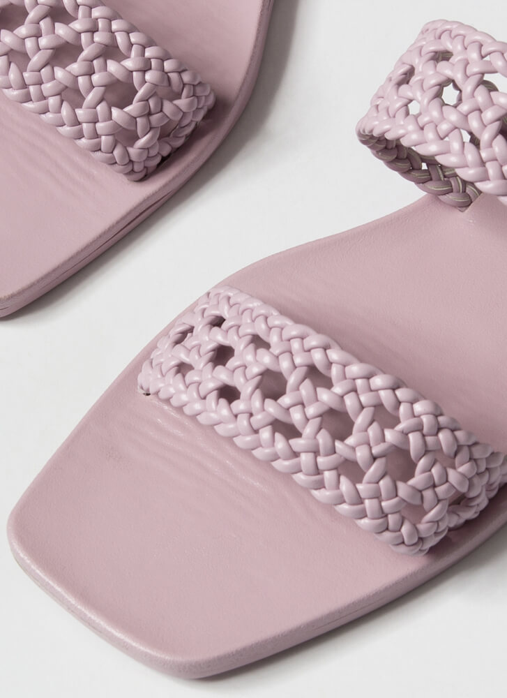Lacy Sunday Braided Faux Leather Sandals LAVENDER