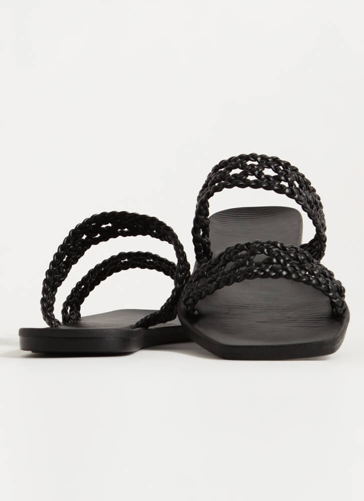 Lacy Sunday Woven Faux Leather Sandals BLACK
