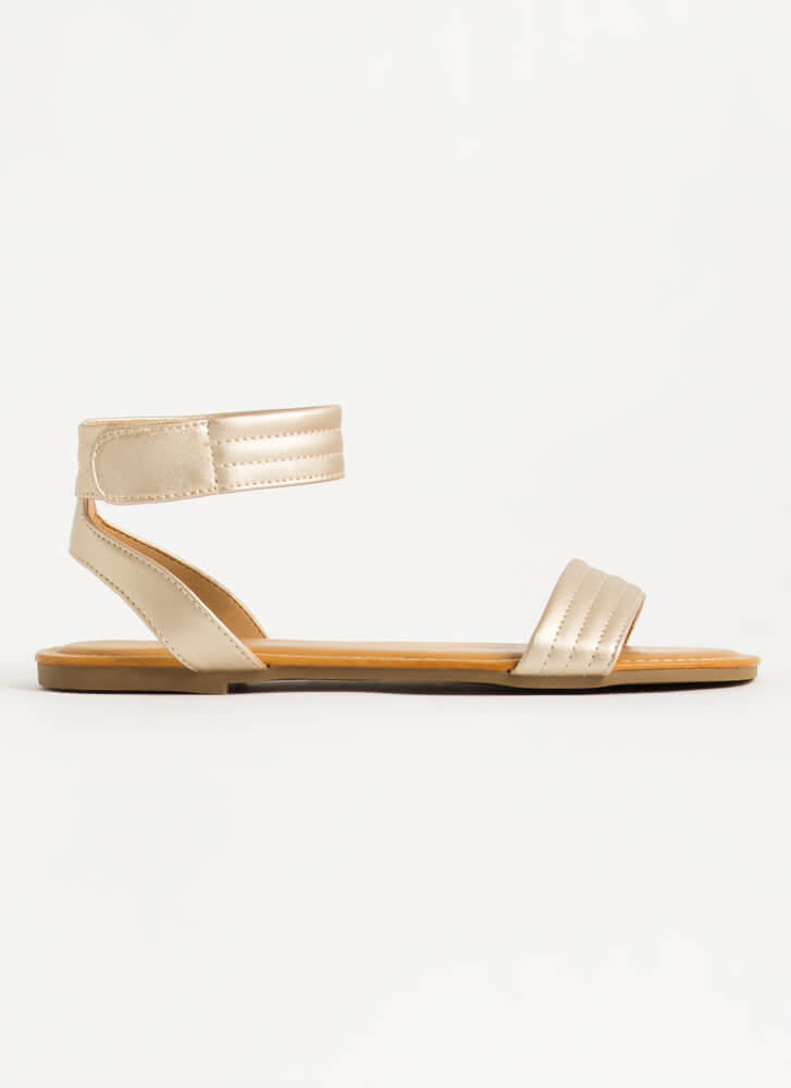 Make It Modern Shiny Ankle Strap Sandals GOLD