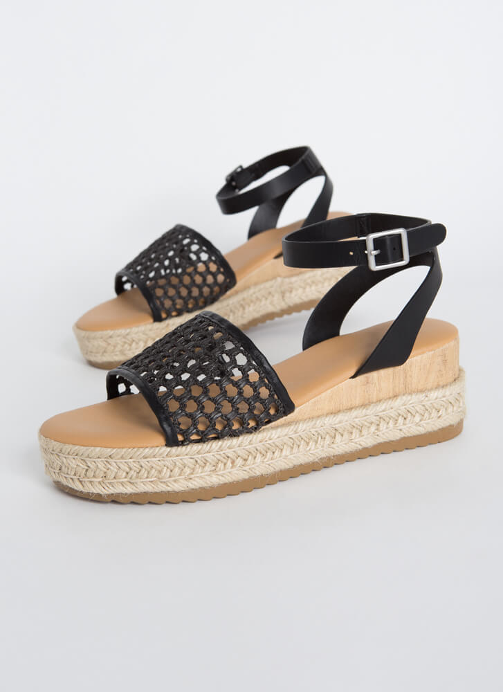 Make A Basket Braided Netted Wedges BLACK
