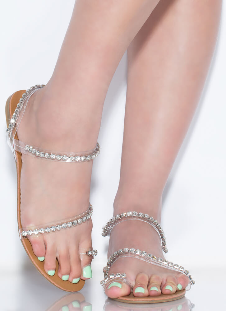 Hidden Gems Sparkly Clear Strap Sandals CLEAR