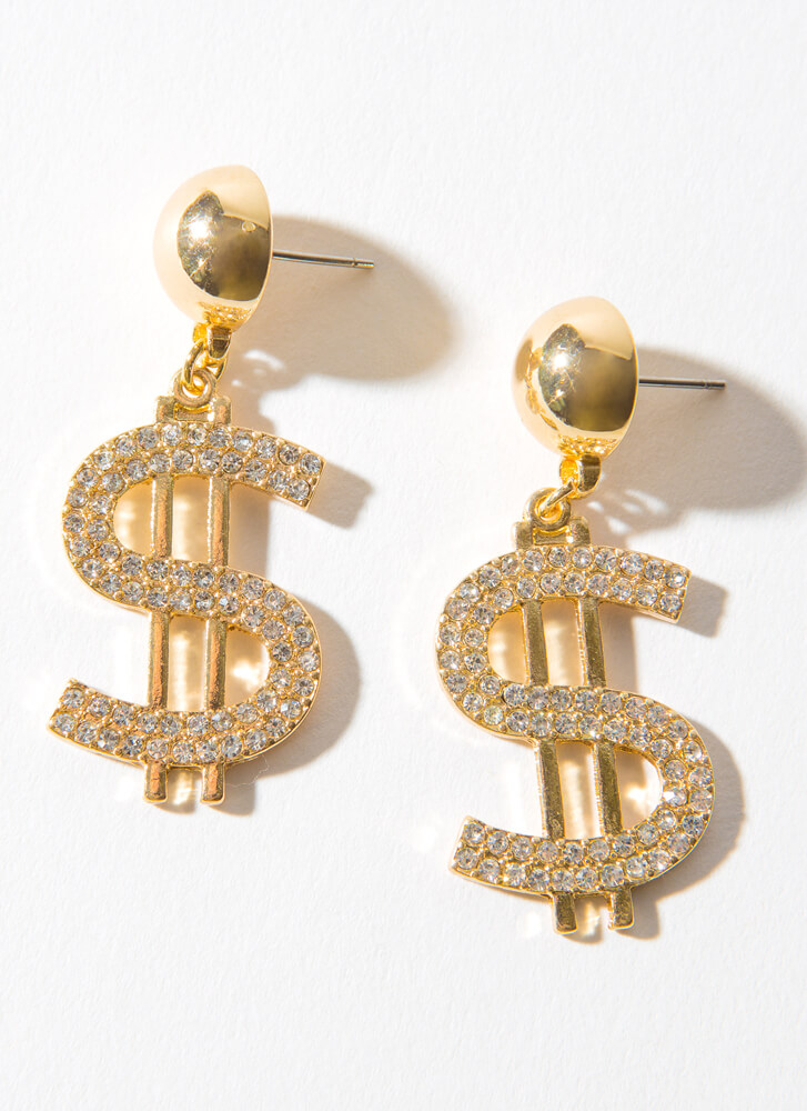 Cash Out Jeweled Dollar Sign Earrings GOLD