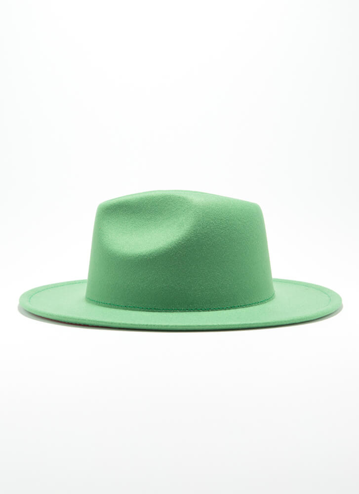 Inside Story Felted Two-Toned Fedora GREEN