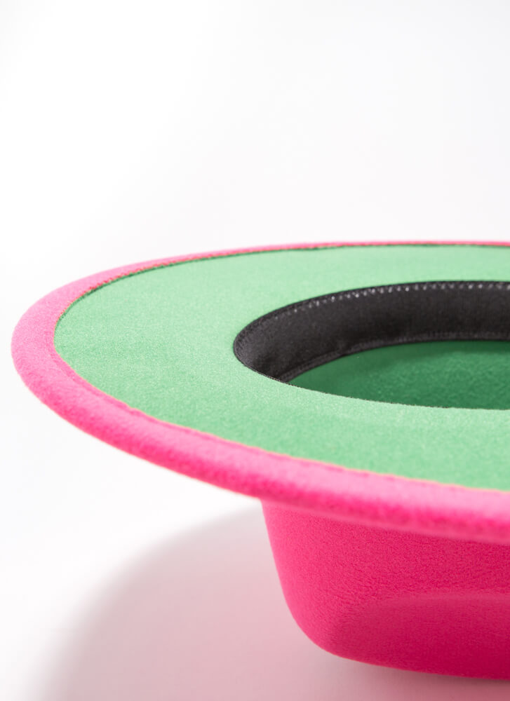 Inside Story Felted Two-Toned Fedora PINK