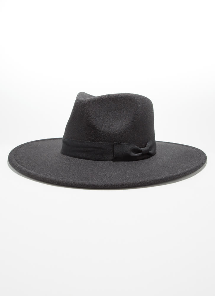 Bow Your Own Way Felted Wide-Brim Fedora BLACK