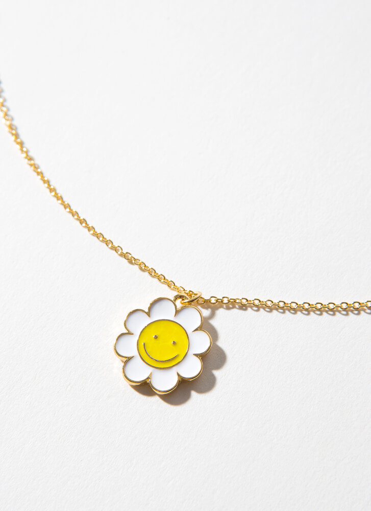 Happy Daisy Flower Charm Necklace GOLD
