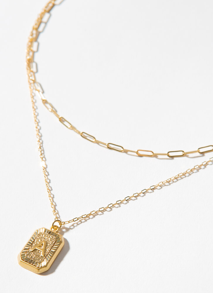 The Letter A Layered Charm Necklace GOLD