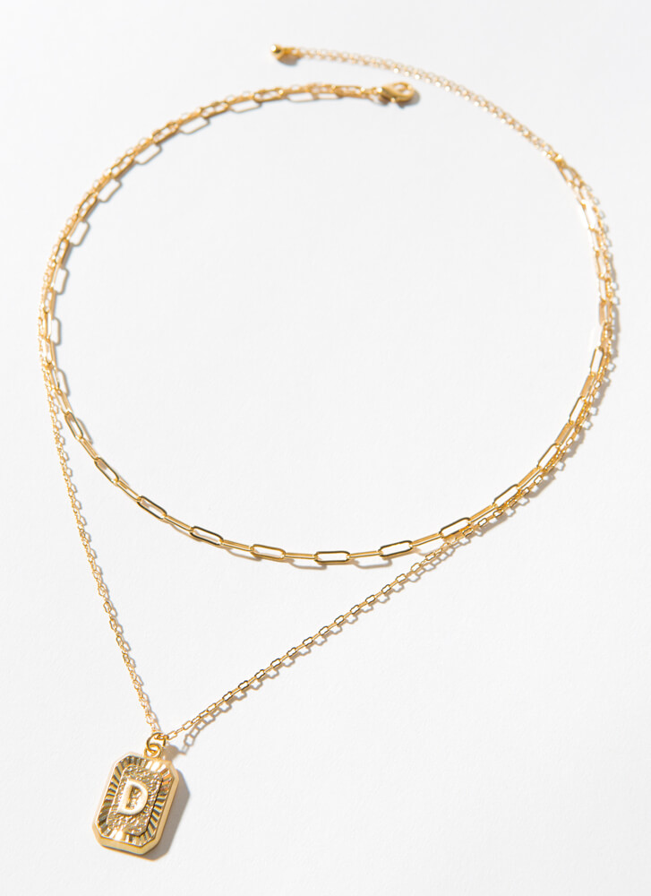 The Letter D Layered Charm Necklace GOLD