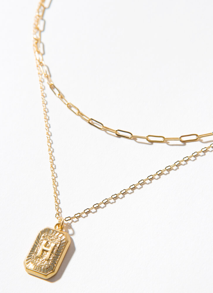 The Letter H Layered Charm Necklace GOLD