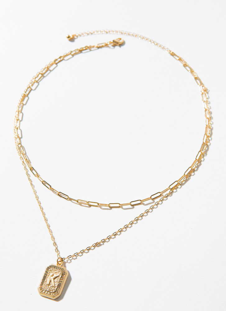 The Letter K Layered Charm Necklace GOLD