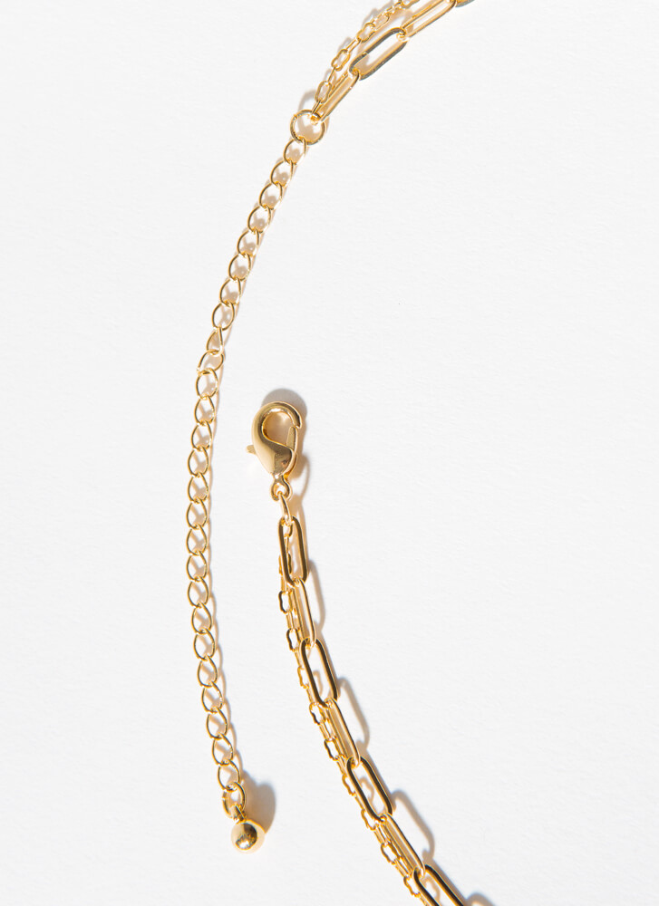 The Letter L Layered Charm Necklace GOLD
