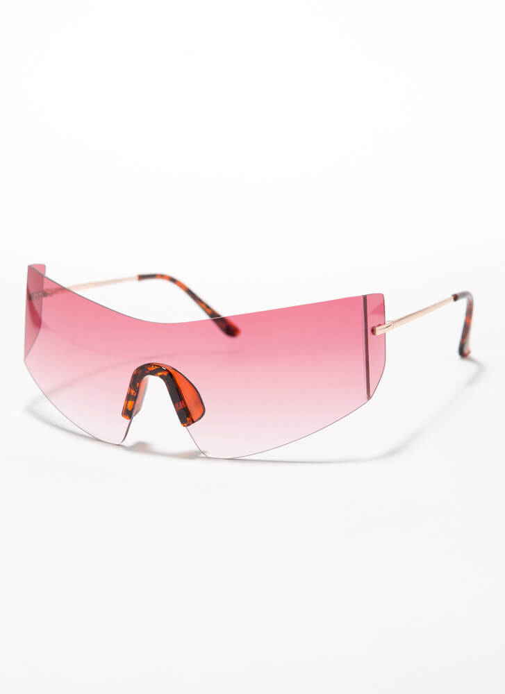 She Curved You Frameless Sunglasses PINK