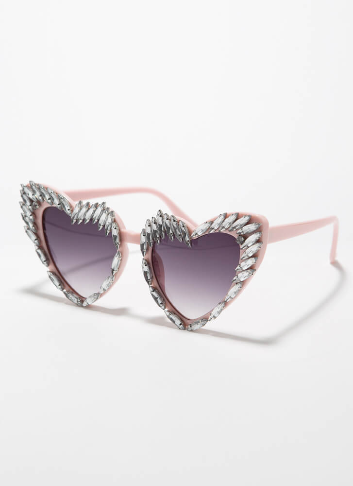 Wild At Heart Jeweled Flared Sunglasses PINK