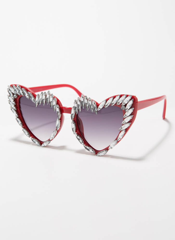 Wild At Heart Jeweled Flared Sunglasses RED