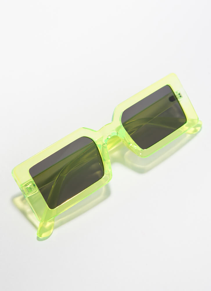 Clear Vision Rectangular Sunglasses LIME