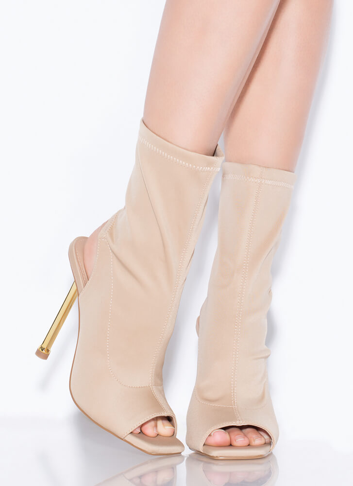 Time To Heel Cut-Out Peep-Toe Booties NUDE