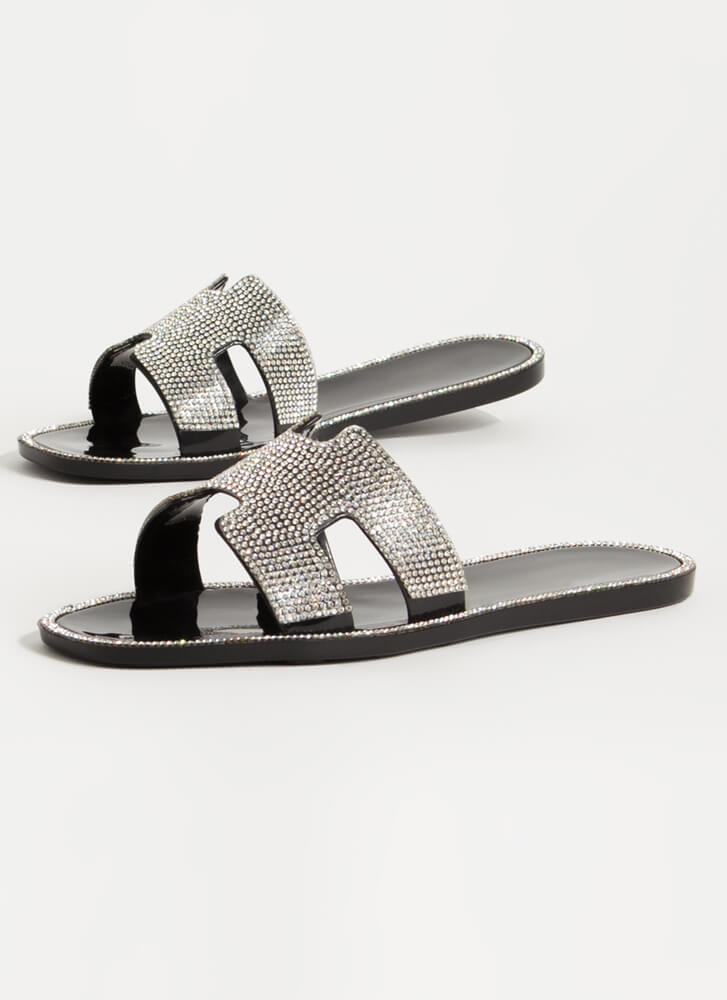 Glam Jeweled Cut-Out Jelly Slide Sandals BLACK