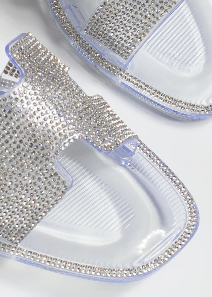 Glam Jeweled Cut-Out Jelly Slide Sandals CLEAR
