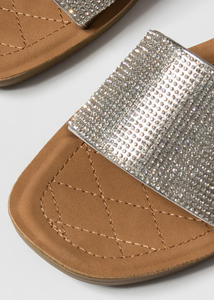 Lap Of Luxury Jeweled Slide Sandals SILVER