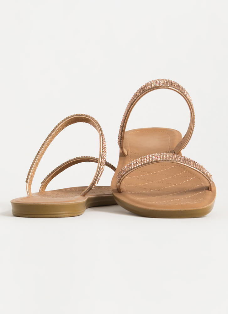 Simple Luxury Jeweled Strap Sandals ROSEGOLD