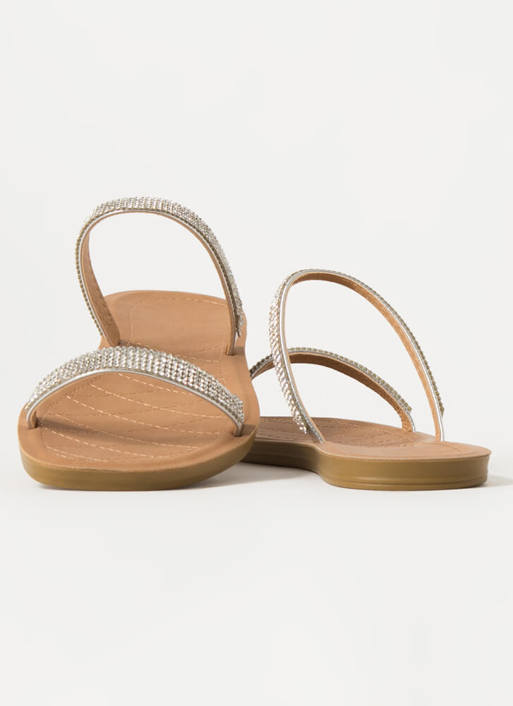Simple Luxury Jeweled Strap Sandals SILVER