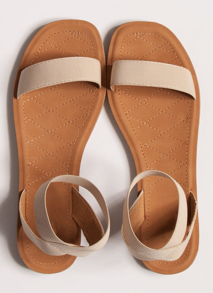 Beach Babe Stretchy Ankle Strap Sandals BEIGE