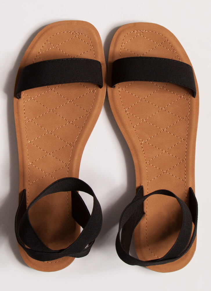Beach Babe Stretchy Ankle Strap Sandals BLACK
