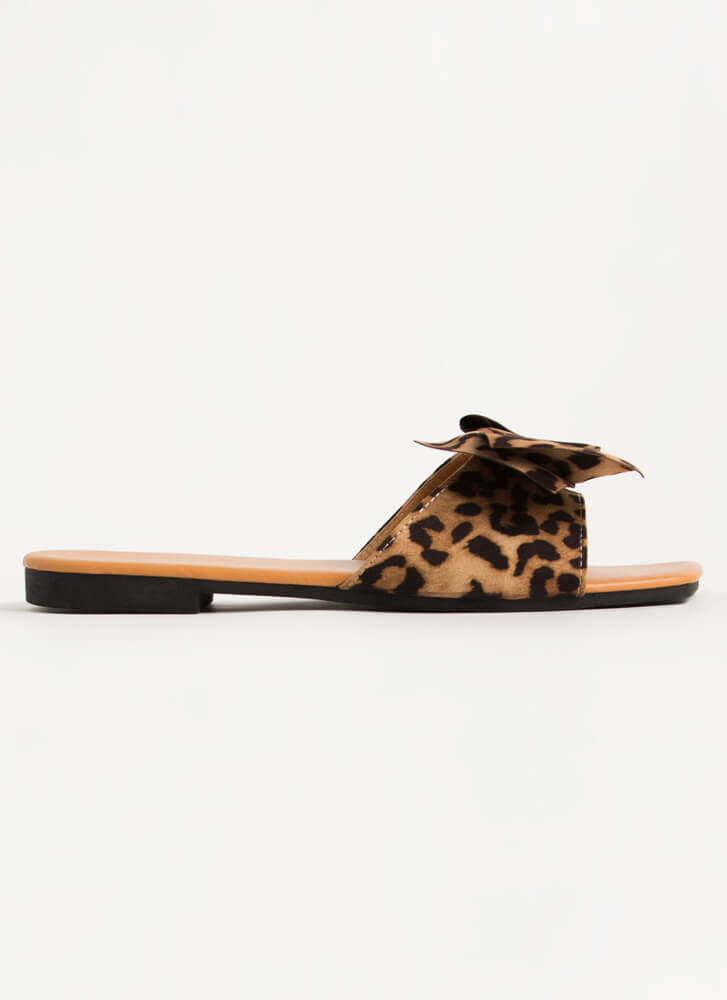 You Bow Girl Faux Suede Slide Sandals LEOPARD
